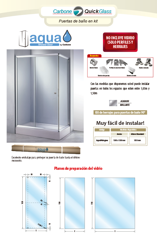 Aqua Bathroom Door Kit